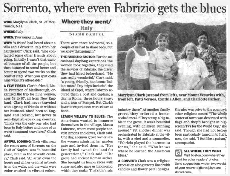 Boston Globe newspaper article